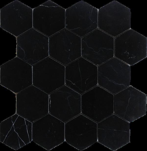 Nero Marquina Black Marble 3 Hexagon Honed Mosaic Hexagonal Mosaic Marble Mosaic Black Marble