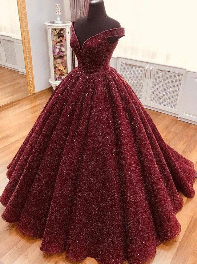 Burgundy tulle sequin long prom dress, tulle burgu