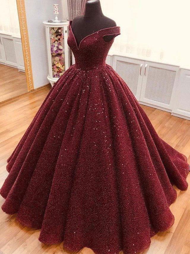 Burgundy tulle sequin long prom dress, tulle burgundy formal dress