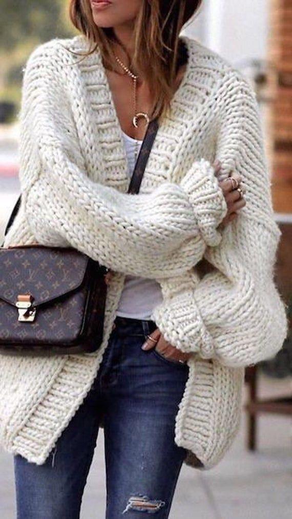 White 100% wool chunky Cardigan - Long Merino Yarn Cardigan - Oversize Jaket - Merino Wool Jaket - Unspun Wool - Bulky Cardigan - Handspun M