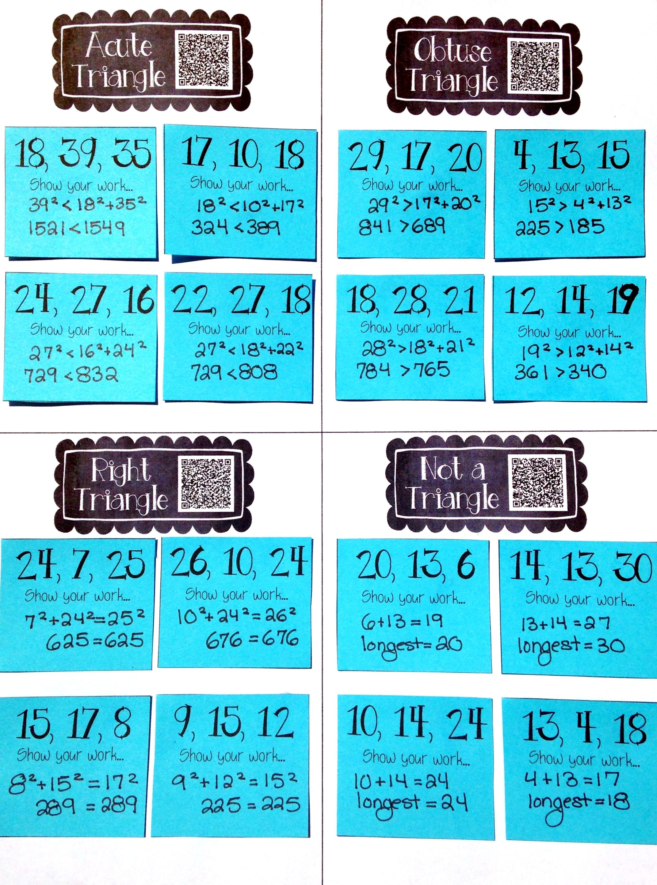Pythagorean & Triangle Inequality Theorems Card Sort | Triangle ...