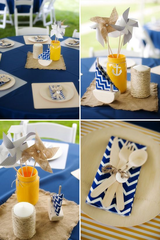 Nautical Themed Birthday Party Table Decor With Painted Mason Jars And Pinwheels Nautical Themed Party Birthday Party Themes Birthday Party Tables