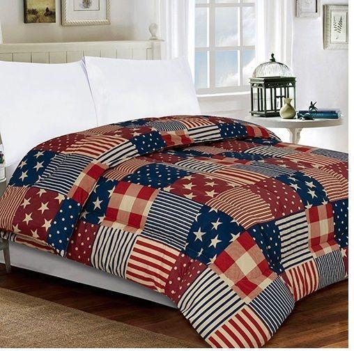 Patriotic Star Stripe American Usa Flag Patch Microfiber Comforter