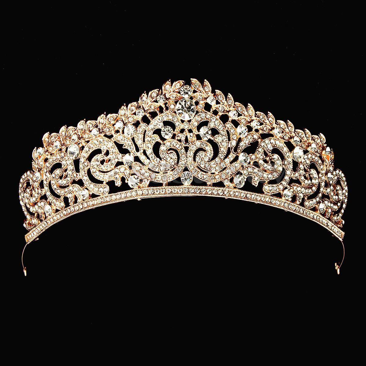 Wedding Silver Bridal Tiara Rhinestone Crystal Crown Pageant Prom Veil Headband