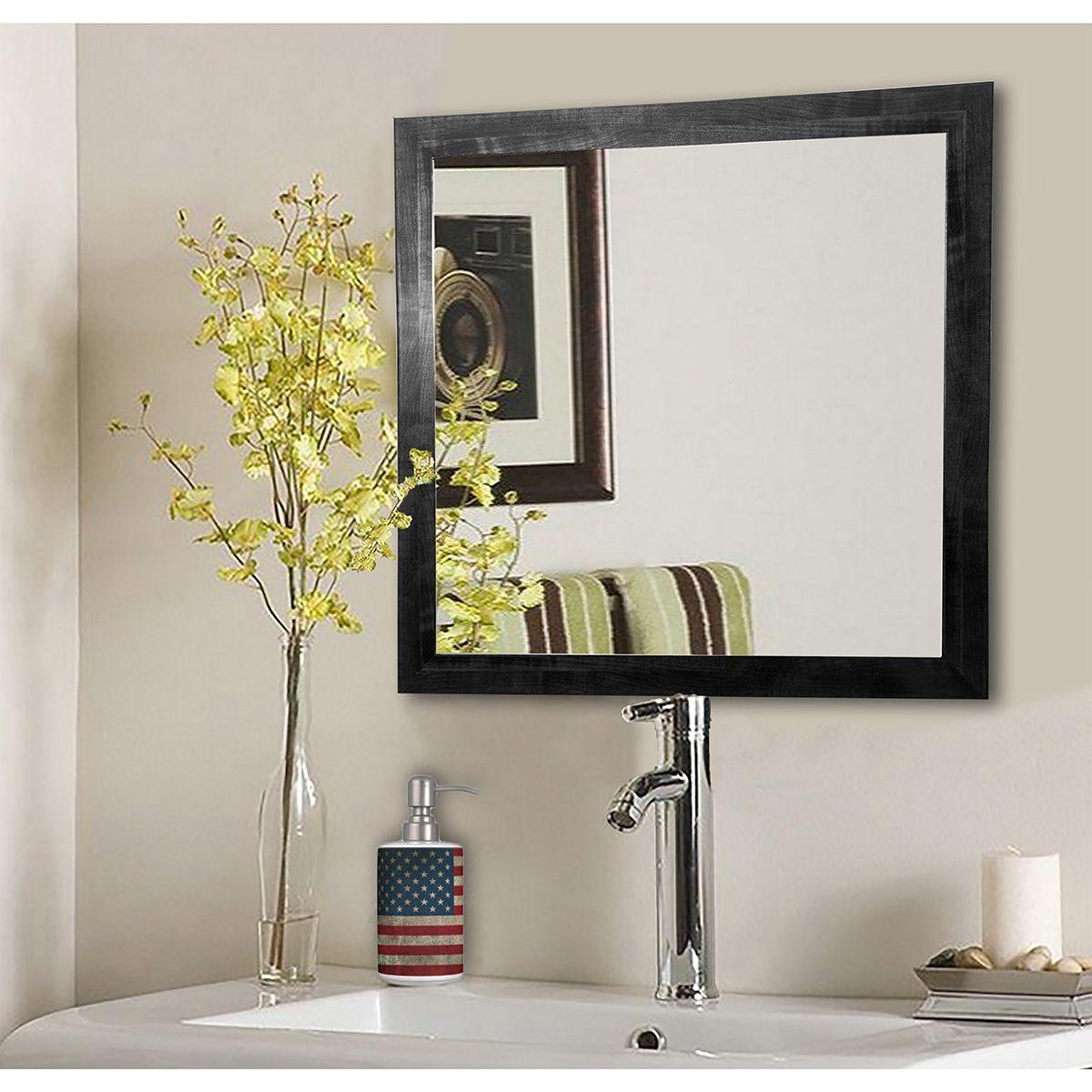 American Made Rayne Black Smoke Wall/ Vanity Mirror (23.5 x 23.5), Black/Grey