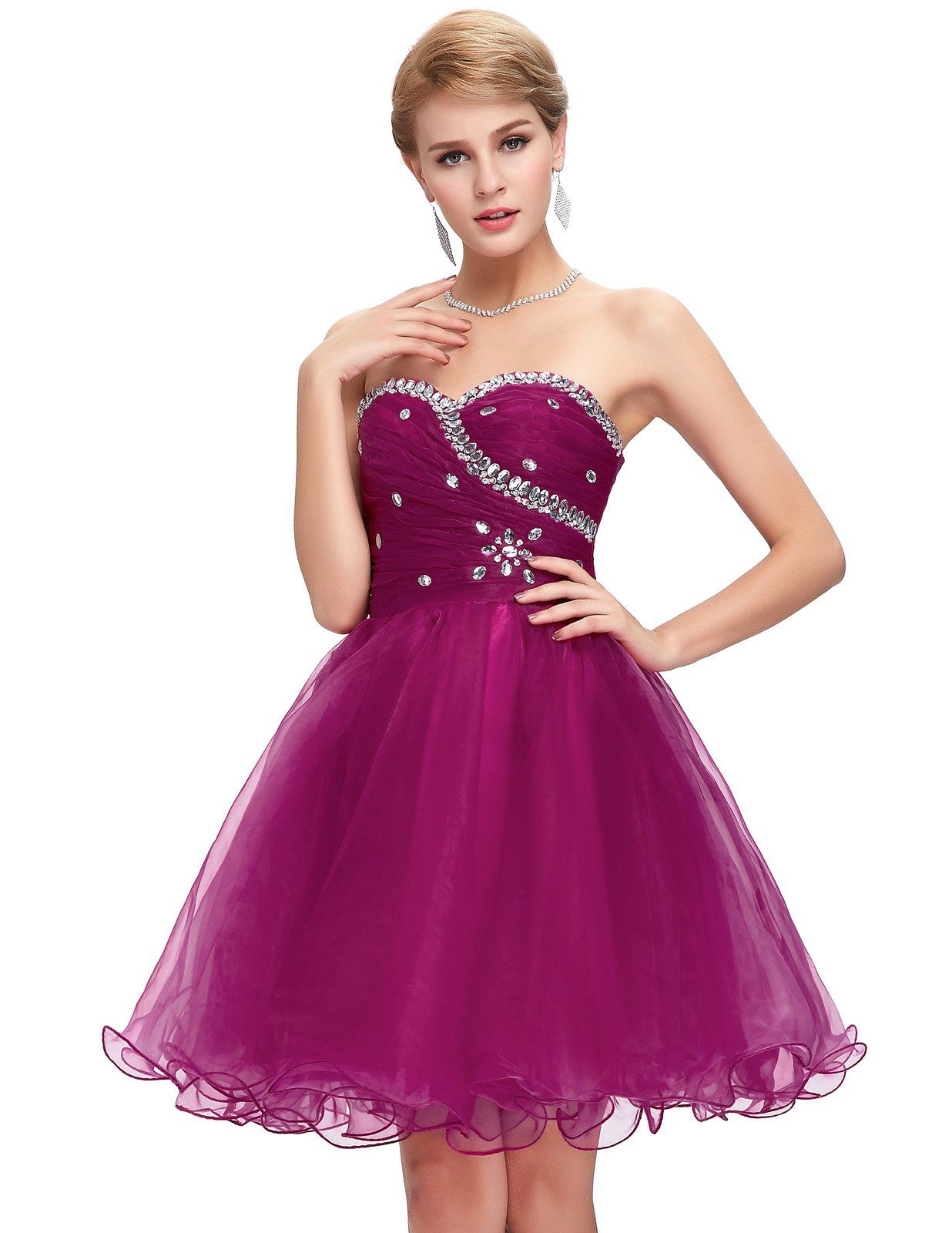 Sweetheart voile bridesmaid dress short prom gown cl usa