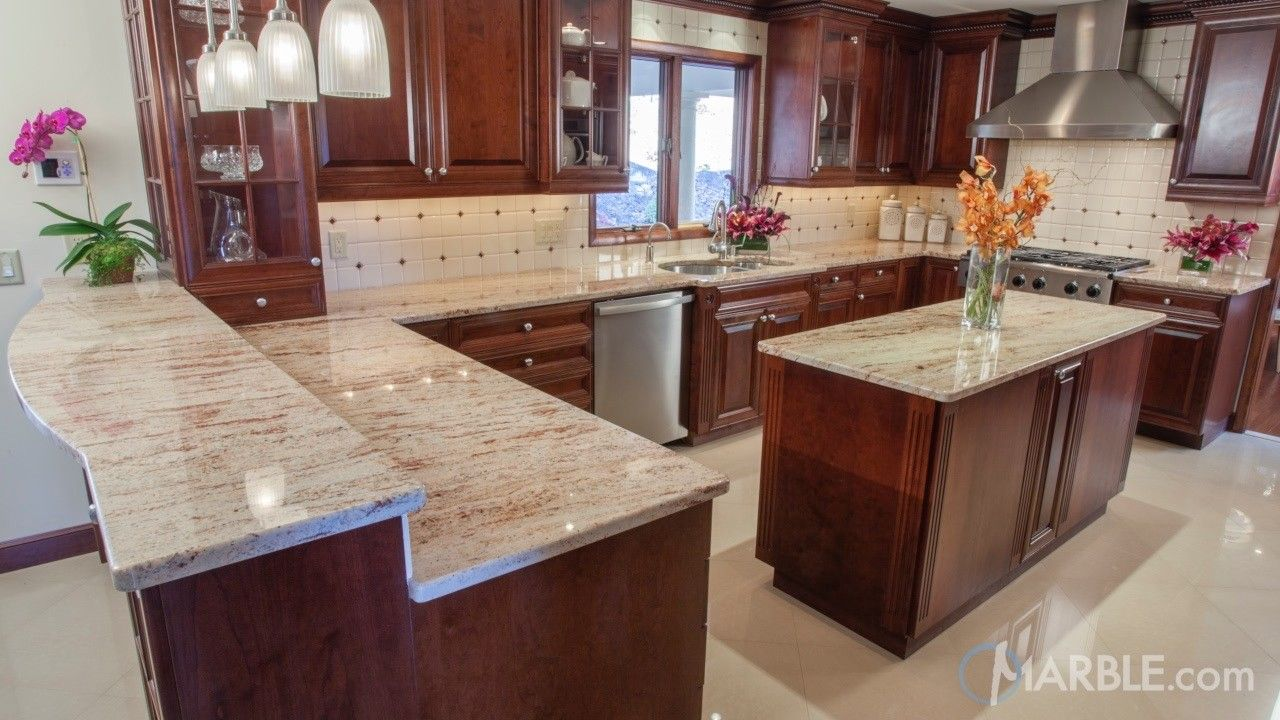 Ivory Brown Kitchen Granite Counters Granite Kitchen Brown Kitchens Brown Kitchen Cabinets