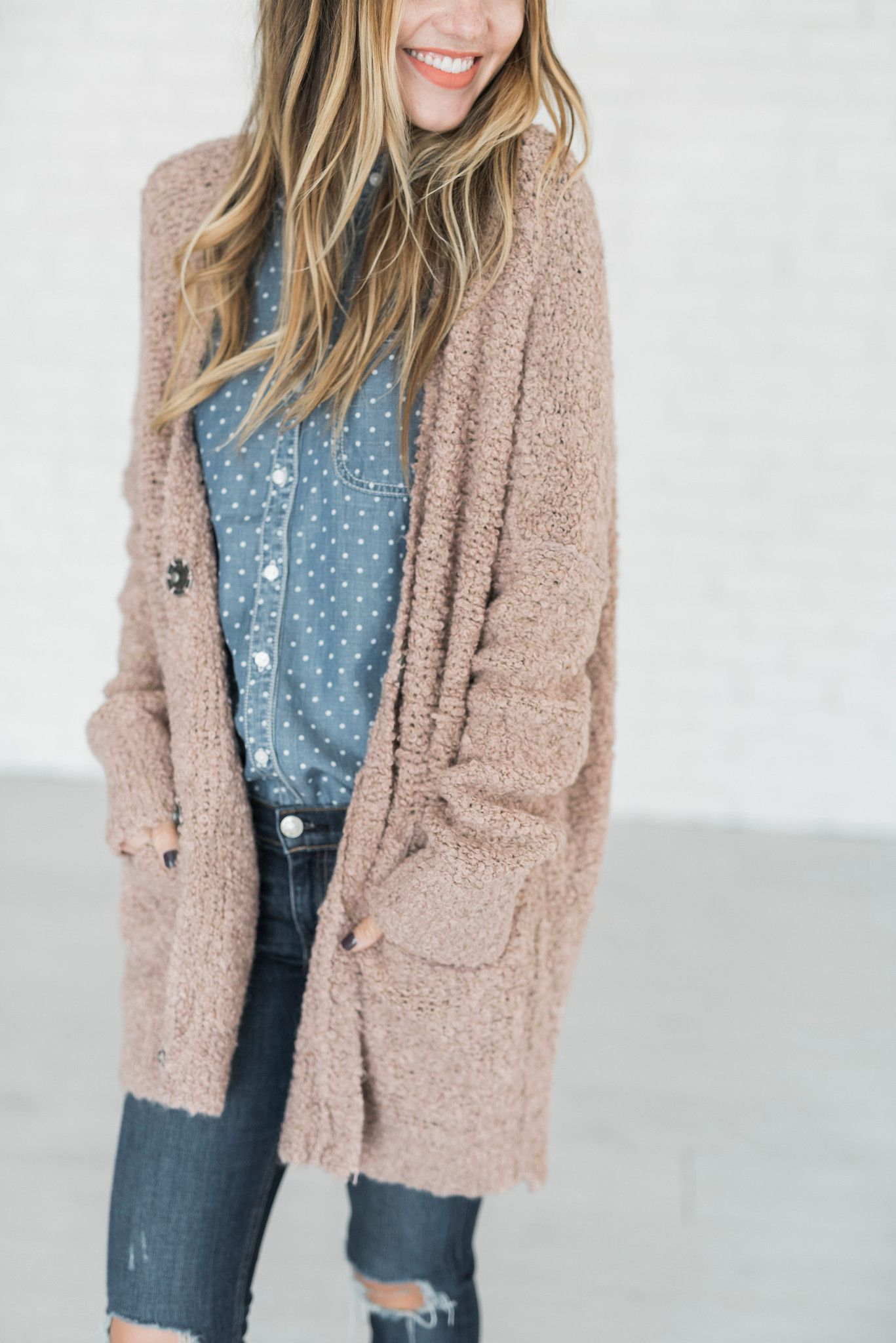 Cozy up in this super slouchy knit cardigan with large front snap ...