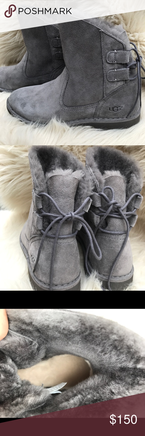 f0c5a1e698f NWOB UGG Naiyah suede, lace-back grey boots. NEW UGG boots. The ...
