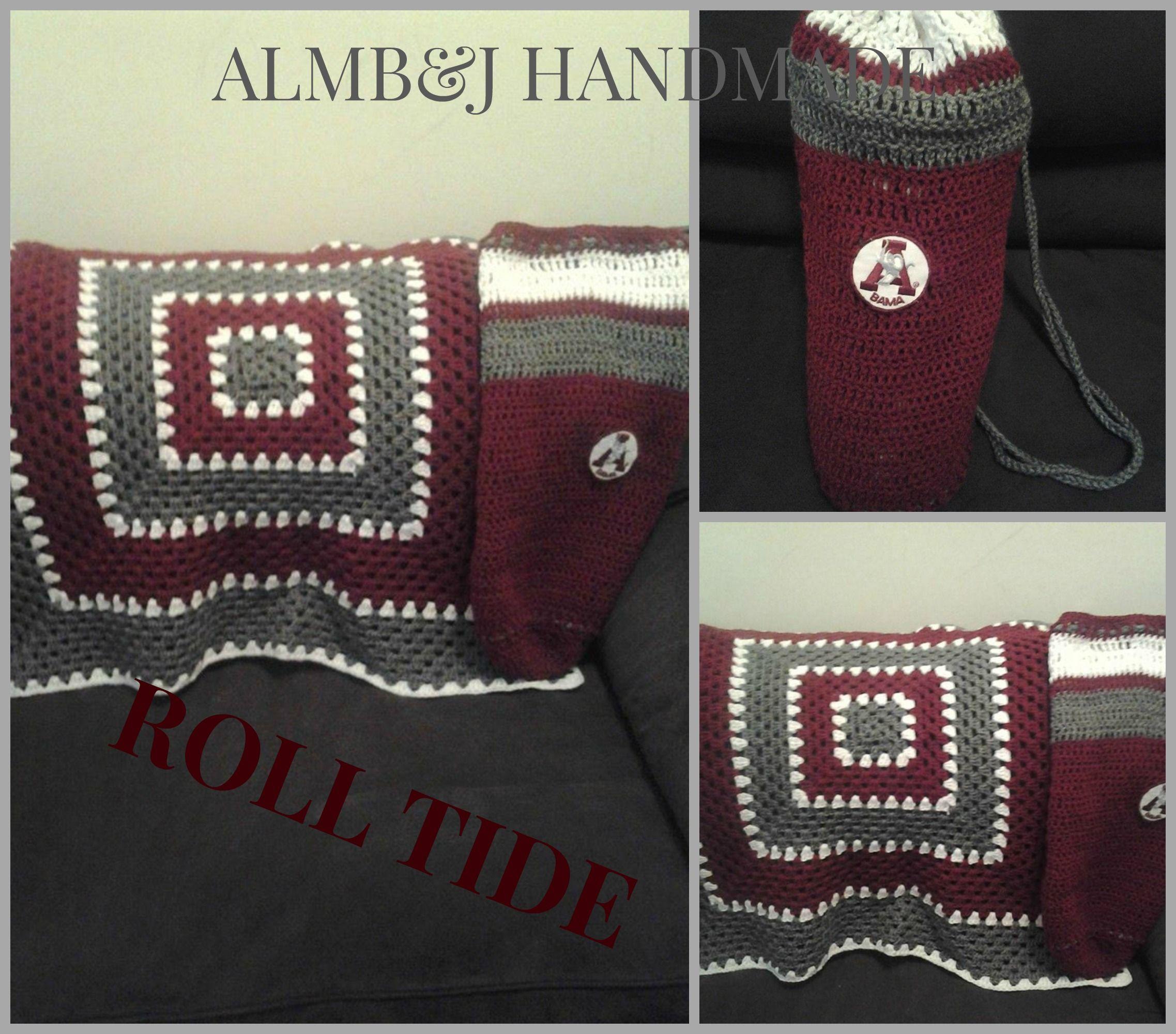 Crochet Alabama Crimson Tide Mini throw with matching crochet bag ...