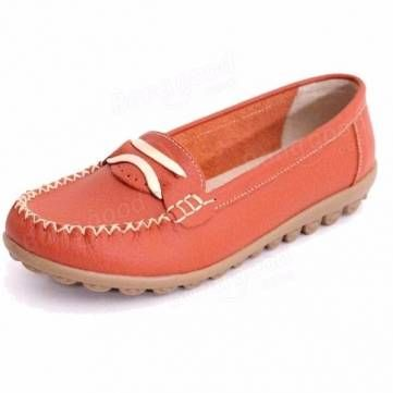 Metal Flat Round Toe Slip On Loafers