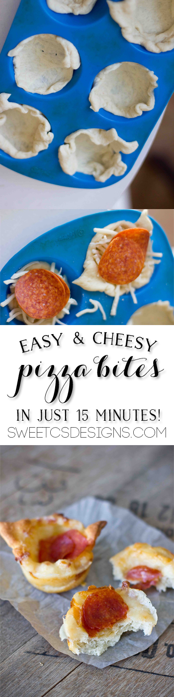 easy & cheesy pizza bites- these take under 15 minutes and are great for parties! Your kids can help cook them, too!