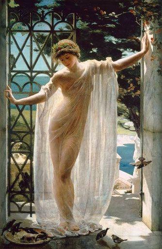 courant-peinture-art-nouveau :Lesbia (John Reinhard Weguelin ...