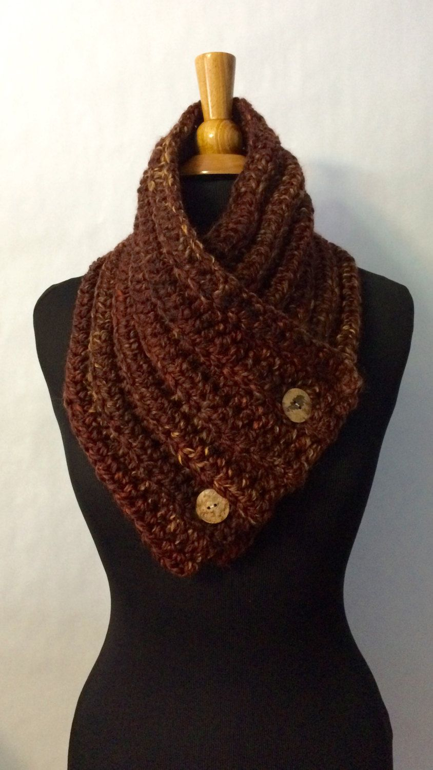 Cowl Scarf for Men - Chunky Knit Button Scarf - Knit Button Cowl ...
