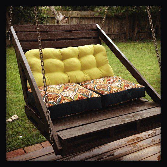 Porch Swing From Pallets Met Afbeeldingen Veranda Schommels