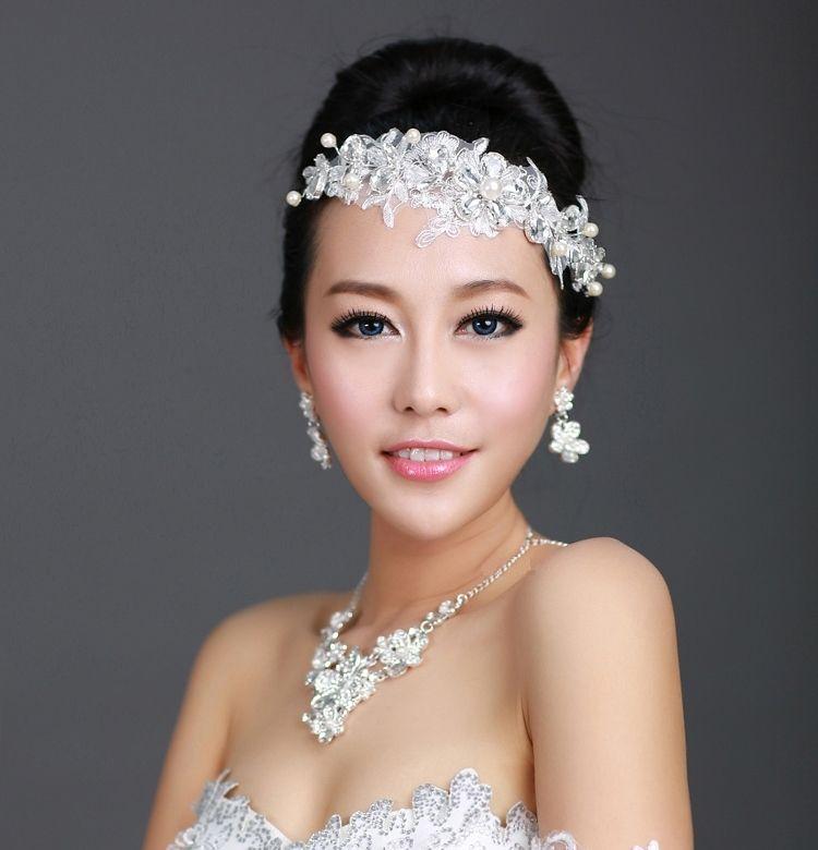 2017 New Wedding Lace Crystal Hair Accessories Bridal Rhinestone Flower Headband Tiara Crown Fashion Jewelry For Woman