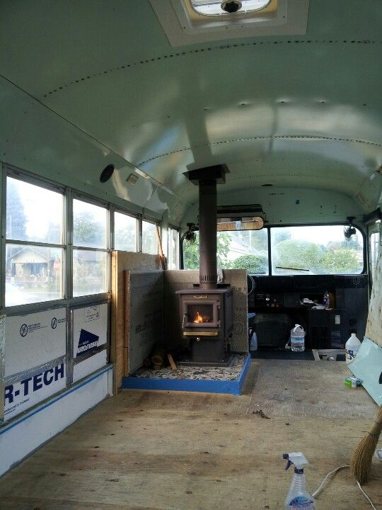 Woodstove In Our Skoolie Inspiring Ideas School Bus