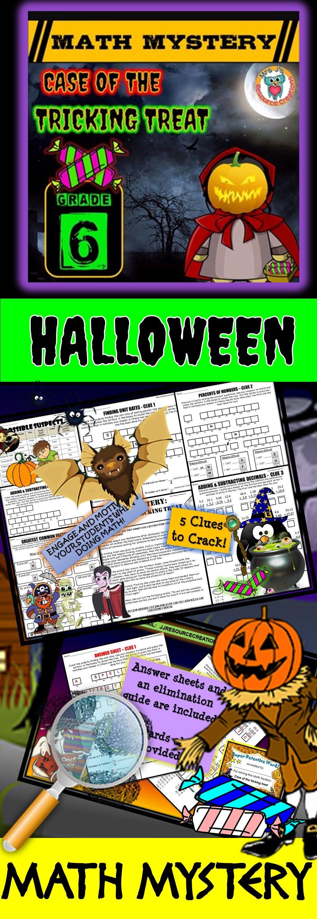 6th Grade Halloween Activity Halloween Math Mystery Game
