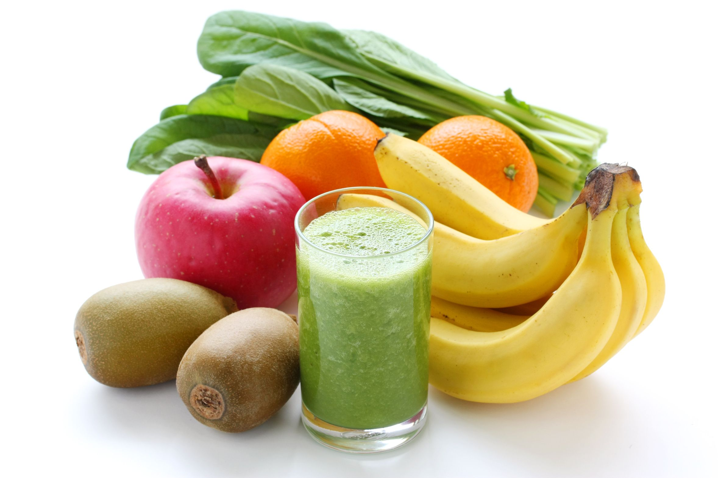 Green Apple Smoothie Recipes; 1 scoop protein, 1 c. water, 1 apple, 1 orange, 1 banana, 2 handfuls spinach, 1 medium carrot