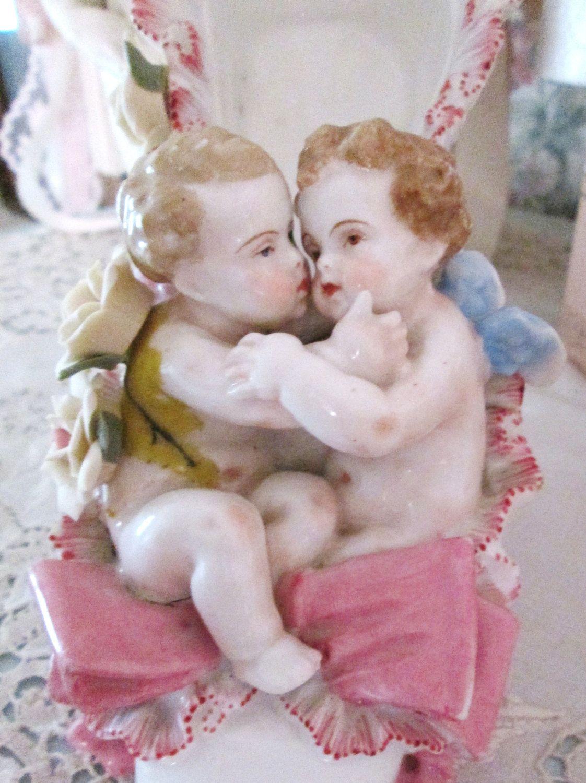 vintage cherubs figurines porcelian shoe by TheGirlyCottage, $72.00