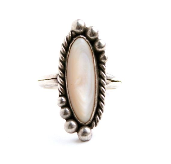authentic style handmade mother of pearl Precious stone ring silver Unique naturel stone