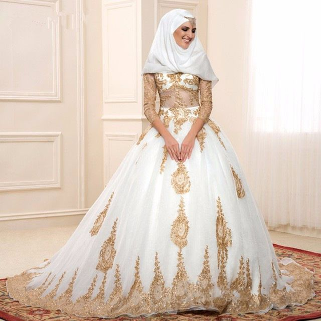 Aliexpress Com Buy Gold And White Islamic Wedding Dresses Ball Gown Turkey With Three Quarter Sl Muslim Wedding Gown Cheap Wedding Dress Muslim Wedding Dress