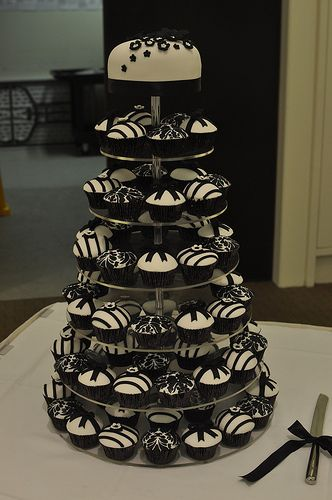 black and white cupcake towers - Wedding Acrylics Monochrome Range Cupcake Stand - http://www.weddingacrylics.co.uk/round-cupcake-stands/000MC-ROUND.html
