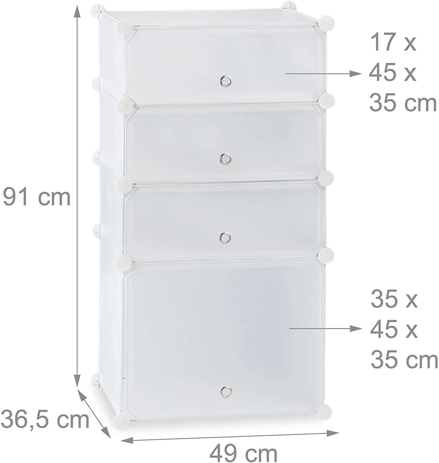 Shoe cabinet shelf cabinet with 4 compartments 91 cm white …