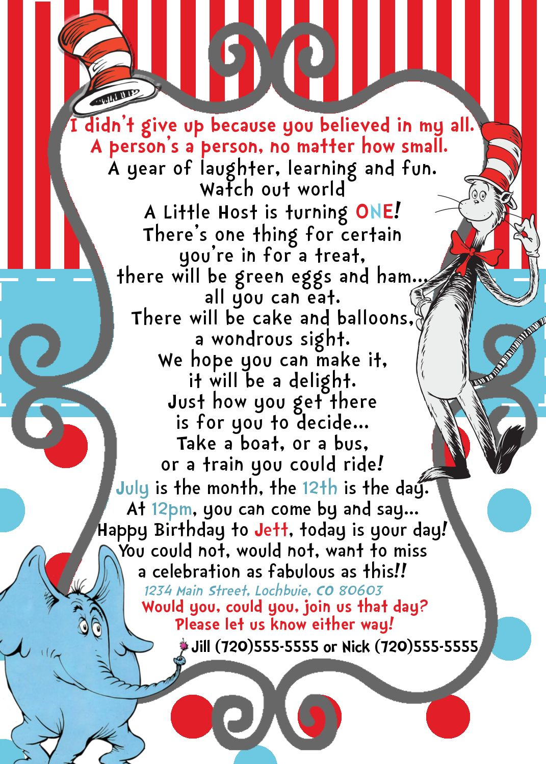 Dr Seuss / Horton Birthday Invite Wording good for a preemie or baby ...