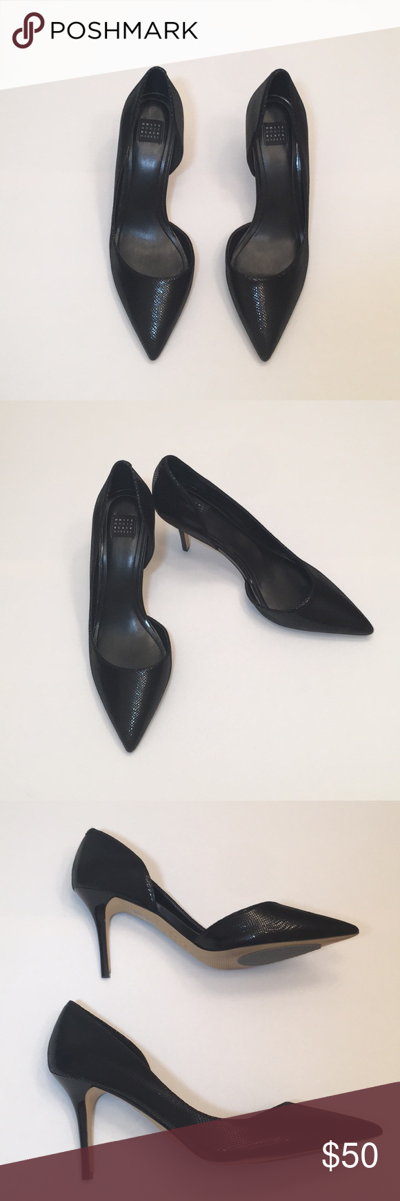 551ca08e1a D'Orsay pumps by White House Black Market Lizard embossed black leather  D'Orsay