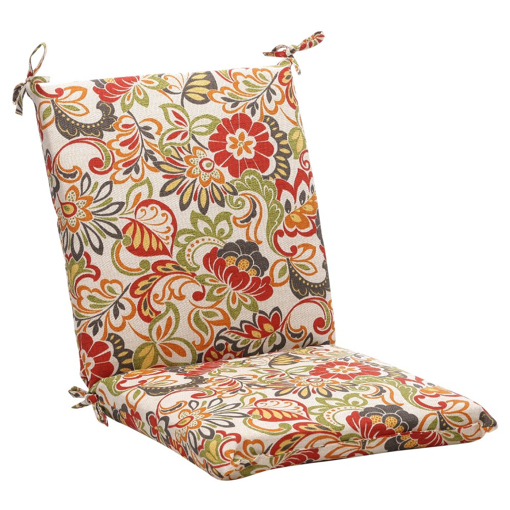Outdoor Chair Cushion Green Off White Red Floral Products
