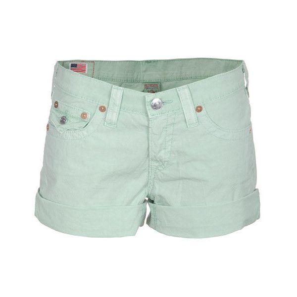 True Religion Kelly Green Cropped denim shorts found on Polyvore