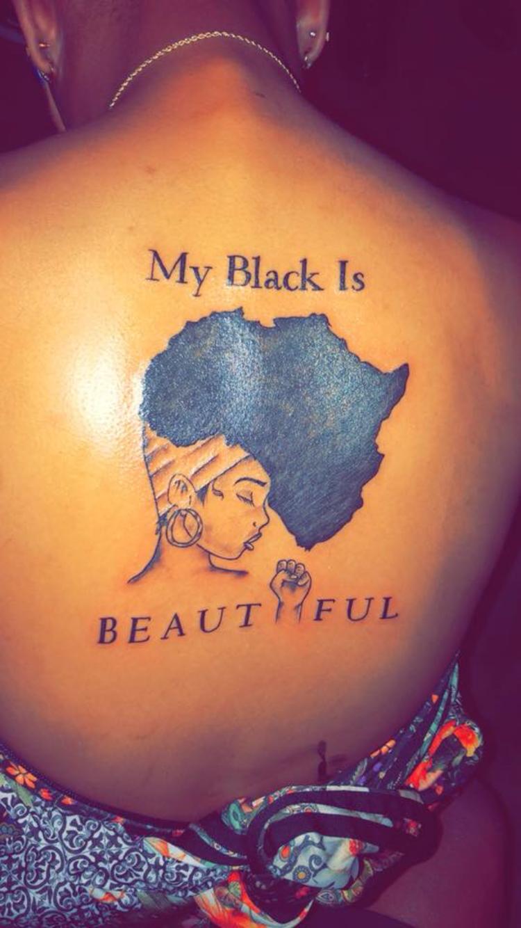 Afro black tattoo girl Black Owned