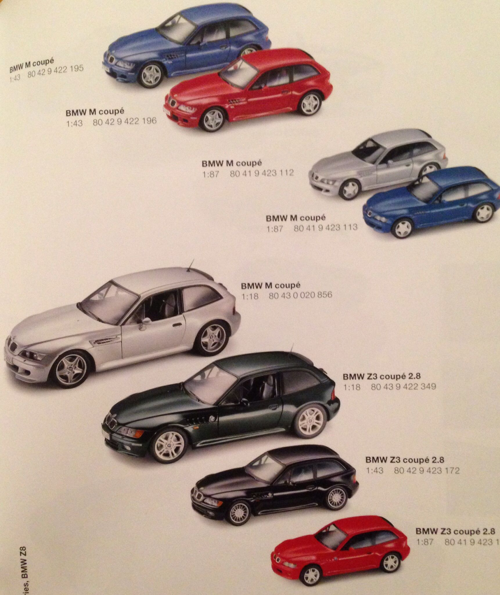 2001 Bmw Collectors Catalog Miniatures Page Depicting All Diecast Models Of The M Coupe Bmw Z3 Bmw Auto