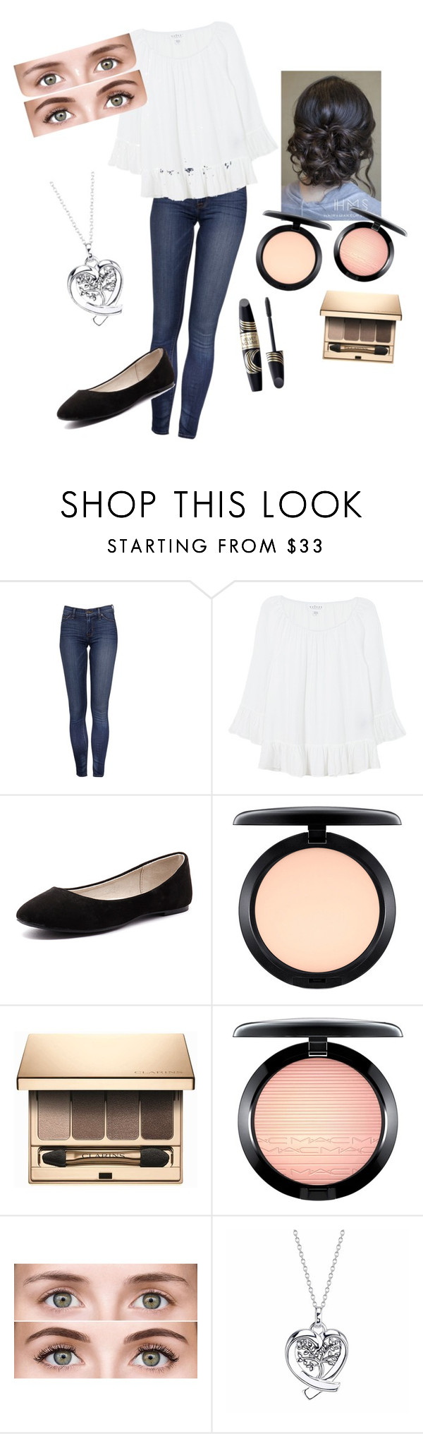 """Beautiful features"" by theizzybee-1 ❤ liked on Polyvore featuring beauty, Velvet, Verali, Max Factor, MAC Cosmetics, Clarins and Footnotes"