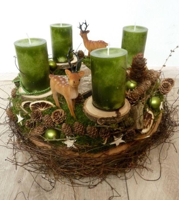 Adventskranz - 1.900 einzigartige Produkte bei DaWanda online kaufen #holzscheibendeko