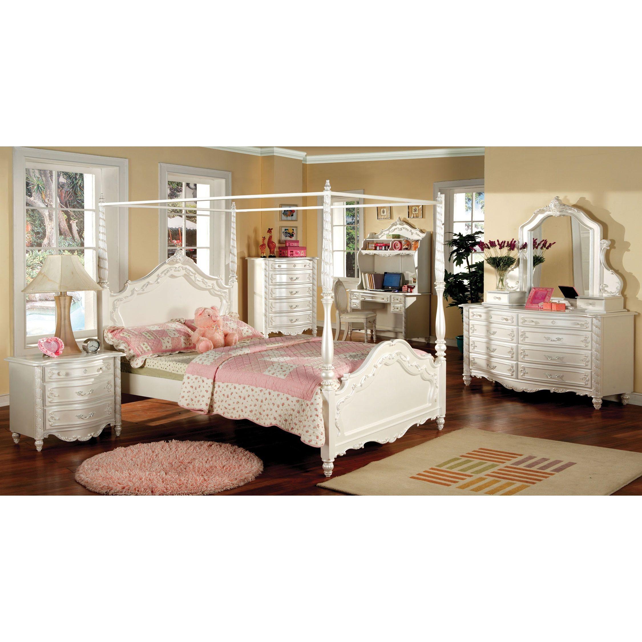 Furniture Of America Talia Pearl White 4 Piece Canopy Bed Set Full