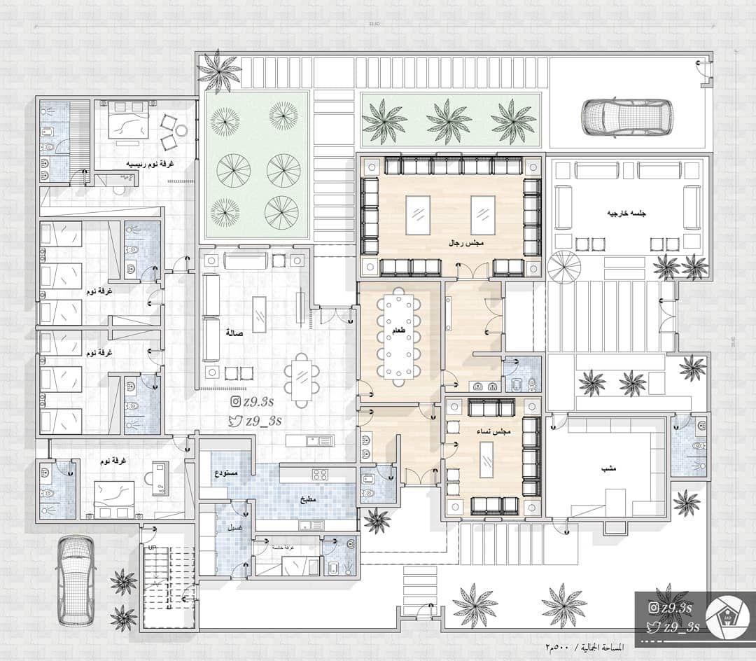 تصميم فيلا دور أرضي فقط بمساحة ٥٠٠م٢ تصميم تصميم داخلي تصميم معماري تصميمي تصميم واجهات خارجية Model House Plan Home Design Floor Plans Family House Plans
