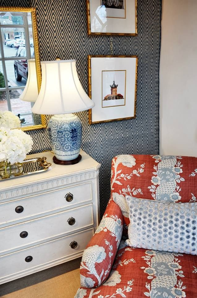 Blue White And Red Preppy Traditional Living Room Vignette With An Asian Blue And White Lamp Blue And White Living Room Red Room Decor Blue Living Room Decor #red #and #blue #living #room #ideas
