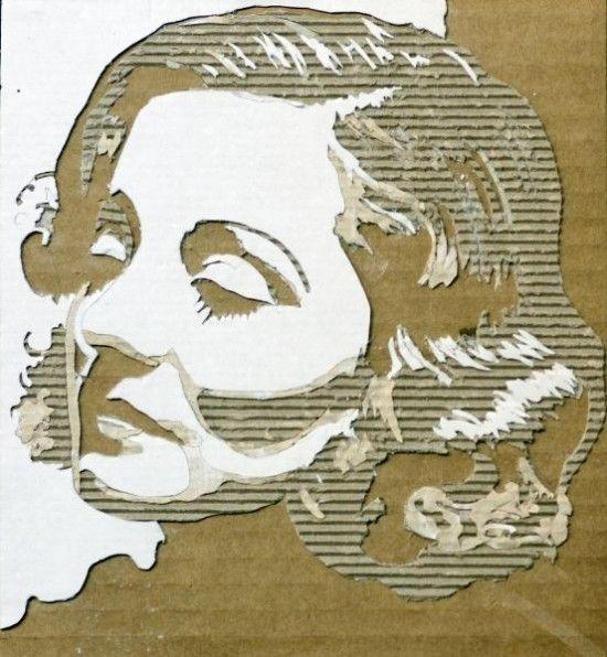 Super portraits en carton ondule par giles oldershaw 1 Portraits en  YU87