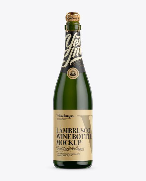 Download Green Glass Lambrusco Wine Bottle Mockup In Bottle Mockups On Yellow Images Object Mockups Lambrusco Wine Bottle Mockup Wine Bottle