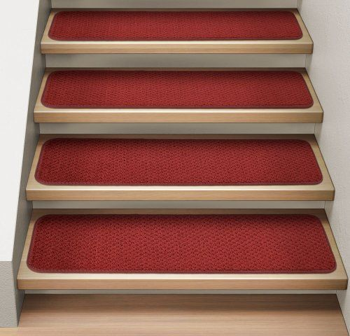 Best Set Of 12 Attachable Indoor Carpet Stair Treads Brick Red 400 x 300