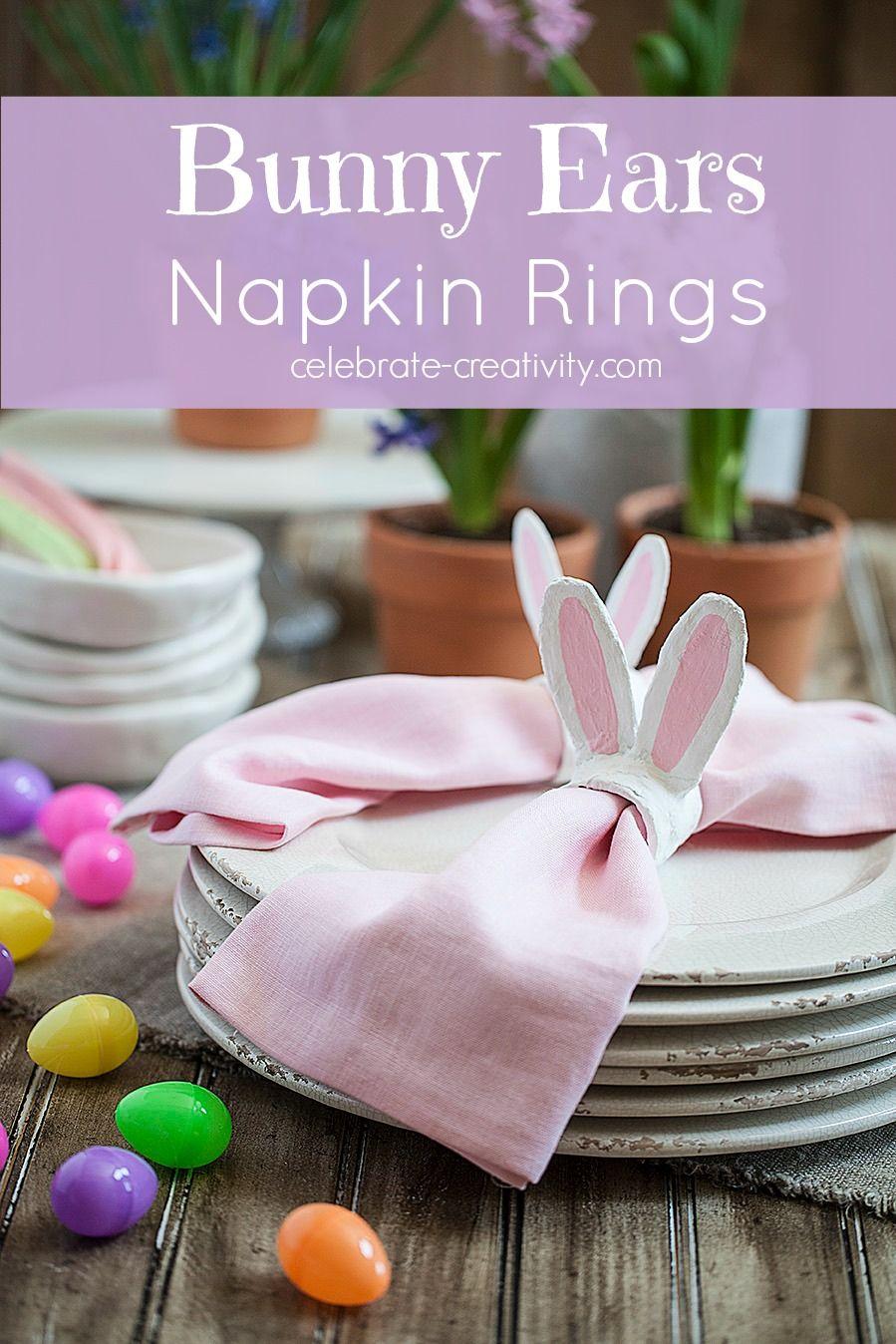 Bunny Ears Napkin Rings Napkins, Bunny napkins, Diy