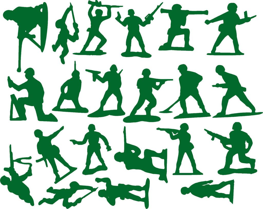 21 Toy Story Theme Soldiers / Vinyl Army Men Wall Art Decal Stickers Green Part 19