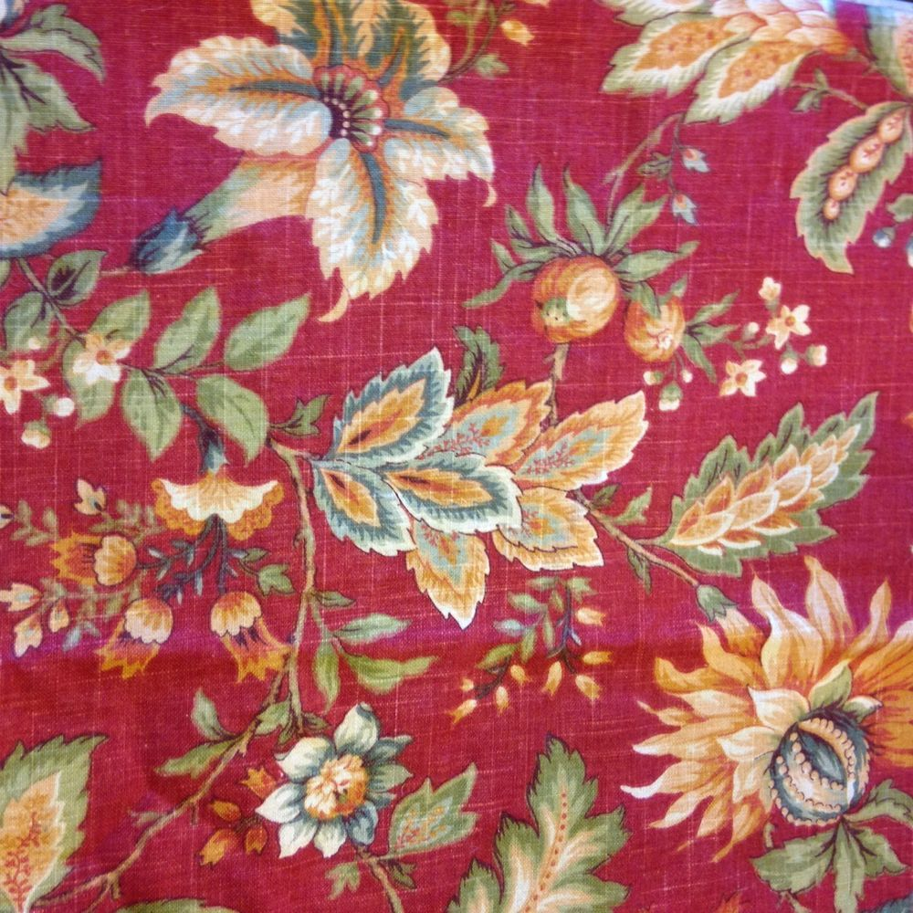 Raymond Waites Floral Granduca Rouge Red Jacobean Fabric