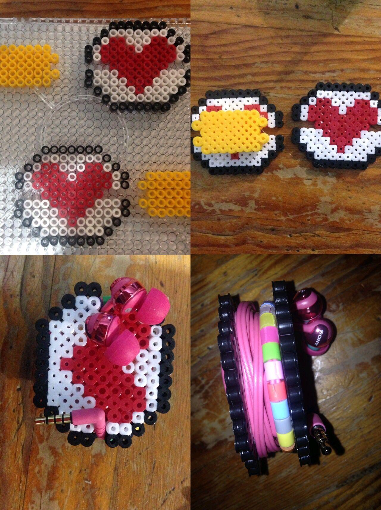 Headphones heart hama beads