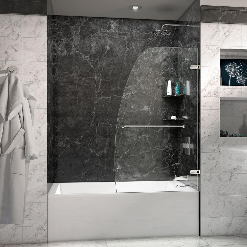 Dreamline Aqua Uno 34 5 16 In X 58 In Frameless Hinged Tub Door In Chrome Shdr 3534586 01 Frameless Shower Doors Shower Doors Frameless Shower
