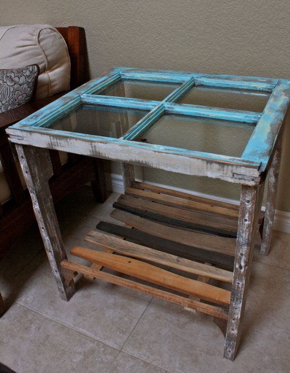Reclaimed Window Side End Table With Shelf By Dharmadesigned 249 00