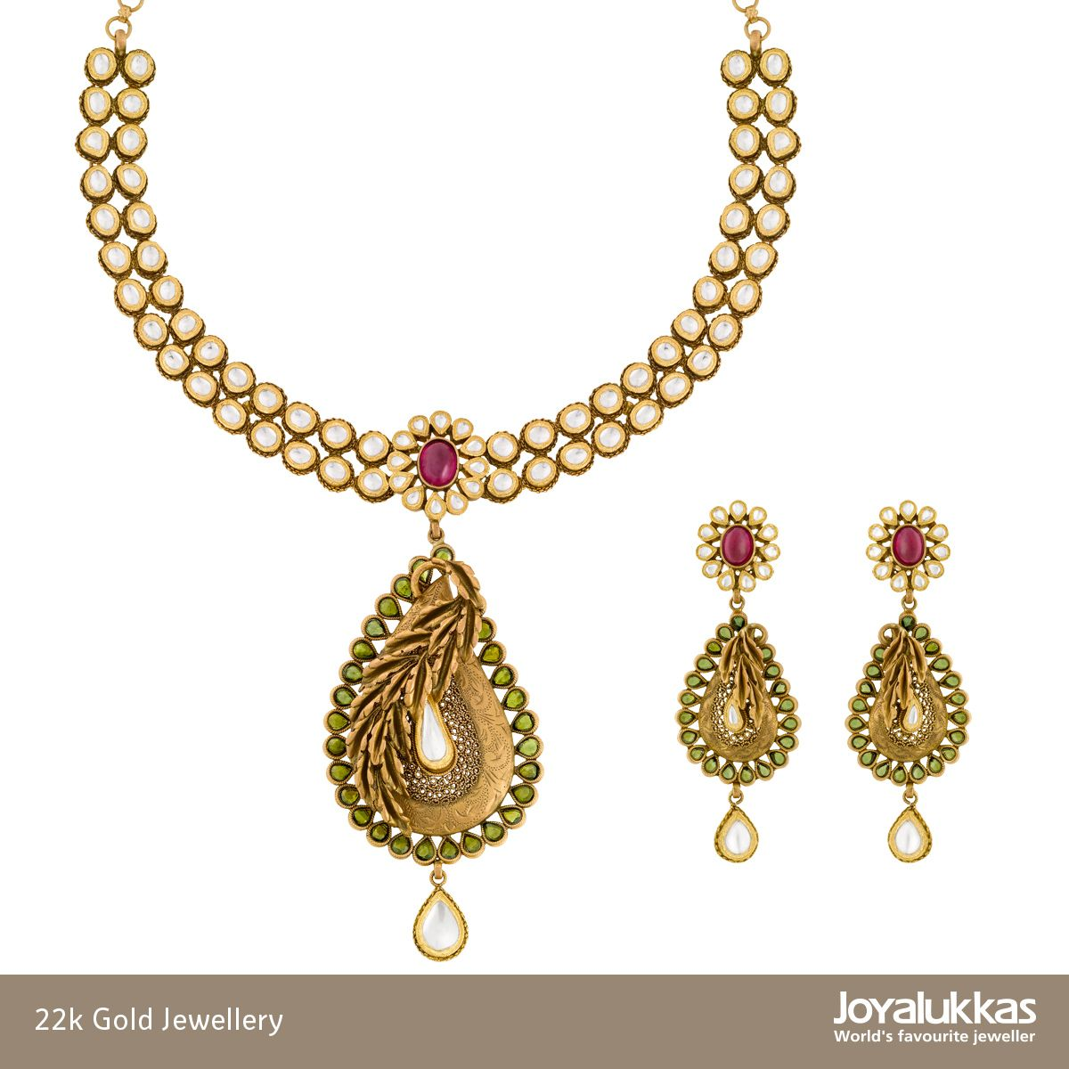 22k gold necklace set joyalukkas jewellery collection pinterest 22k gold necklace set aloadofball Image collections
