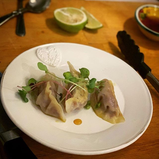 A mini middle course of pork and cabbage dumplings with dots of citrus soy for @kitchenstudionorthshore . . . . . . . . #thefearlesskitchen #ladystartups #aucklandfoodie #eatwithyoureyes #dumplings #cateringauckland #cateringevent #fearlessfood #fearlessinthekitchen #befearlessinthekitchen #girlbossnz #womenempowerment #fearlessmom #fearlessmum
